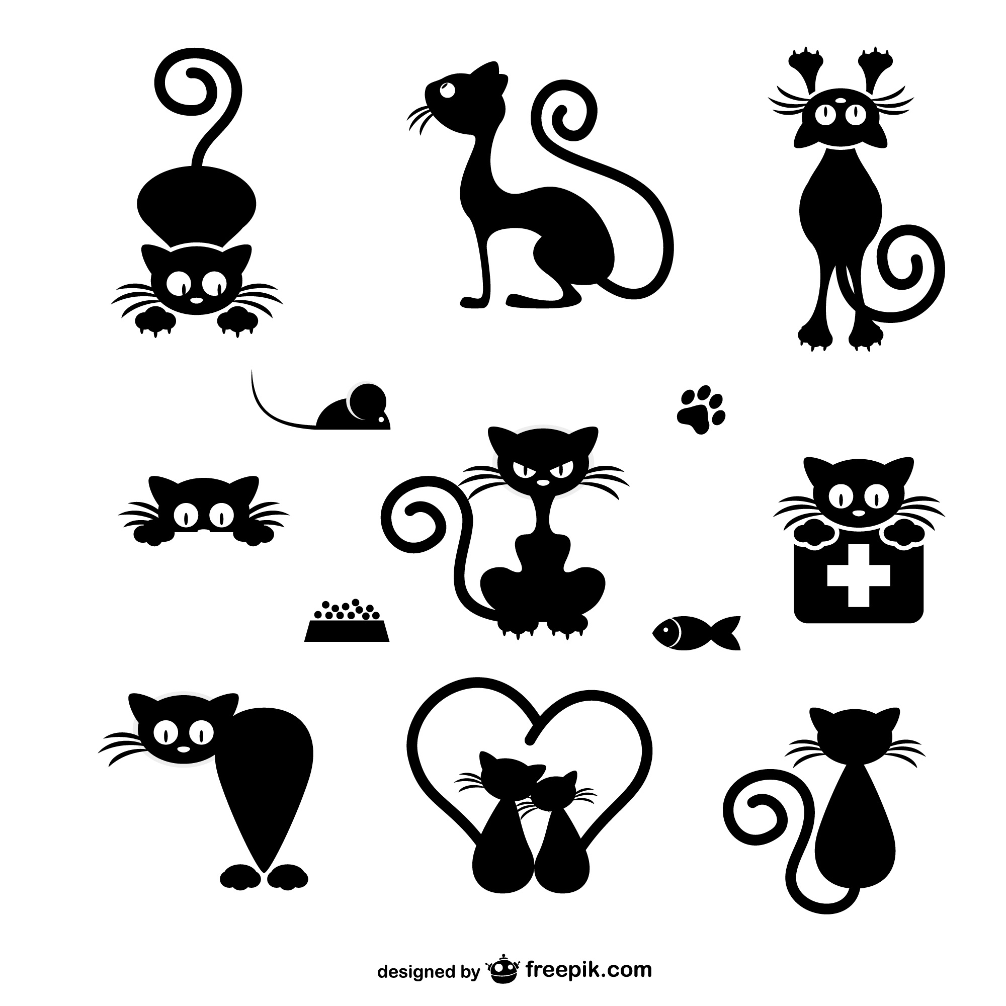 Cats silhouettes collection