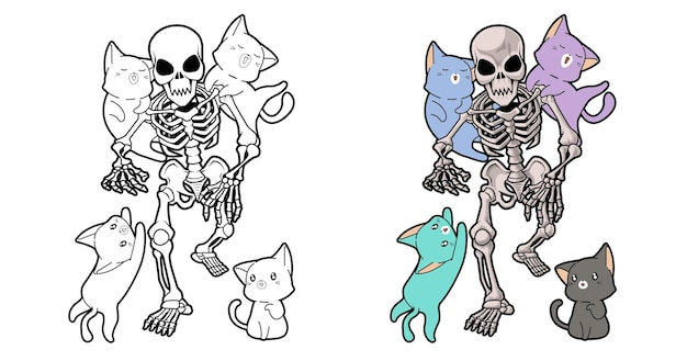 Cats and skeleton cartoon coloring page
