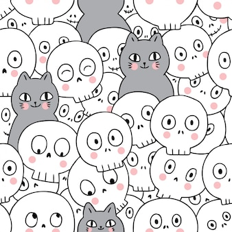 Cats and skeleton seamless pattern
