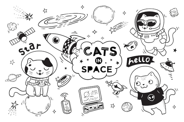 Cats in space doodle for kids