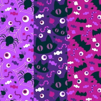 Cats spiders and bats halloween patterns Premium Vector