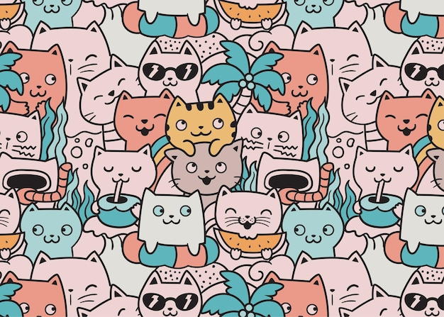 Cats summer beach doodle pattern background
