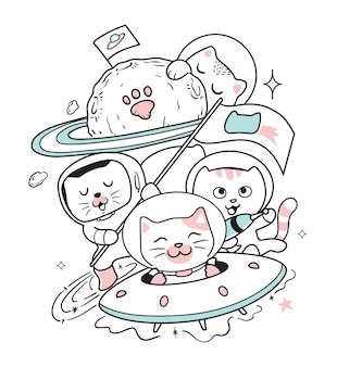 The cats travel into space