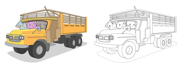 Cats and truck cartoon coloring page
