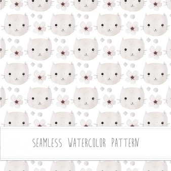 Cats watercolor pattern Free Vector
