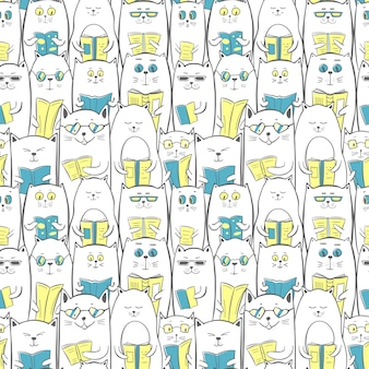 Cats with books, seamless pattern
