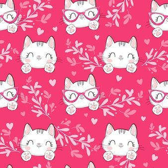 Cats with floral ornament and hearts pattern
