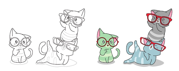 Cats with glasses cartoon coloring page