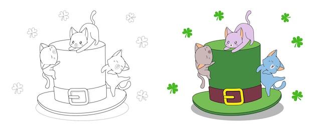아이들을위한 세인트 패트릭 데이 색칠 페이지에 모자를 쓴 고양이