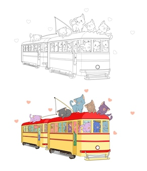 Cats with locomotive coloring page for kids