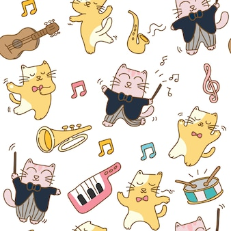 Cats with musical instrument seamless pattern
