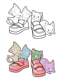子供のための靴の漫画の着色のページを持つ猫