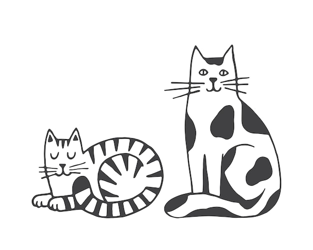 흰색 배경에 고립 된 고양이 벡터 일러스트 국내 동물 애완 동물 손으로 그린 클립 아트
