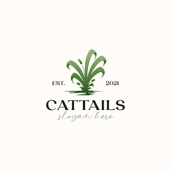 Cattails grass green gradient logo template isolated in white background