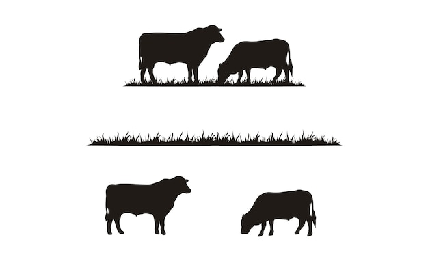 Силуэт крупного рогатого скота и травы