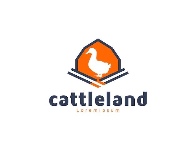 Логотип фермы сарай для крупного рогатого скота с иллюстрацией утки