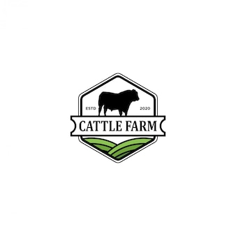Cattle farm logo, angus cow farm