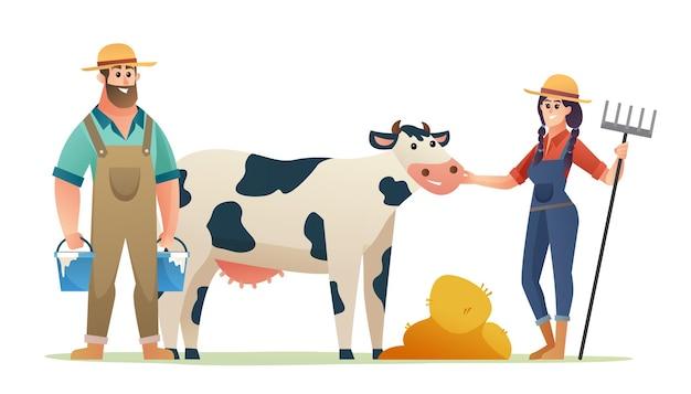 Cattle farmer cartoon characters