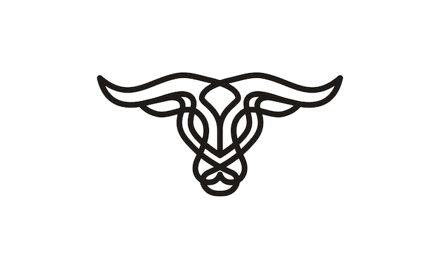 Cattle head with celtic style logo design inspiration