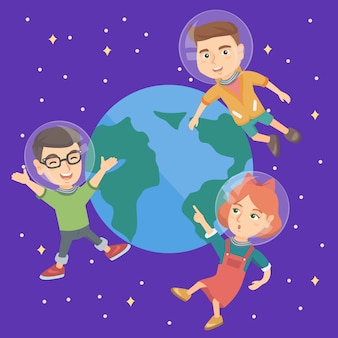 Caucasian astronaut kids flying in space.