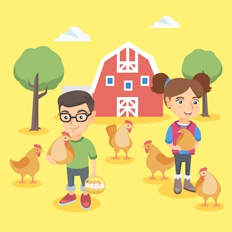 Caucasian boy and girl holding chickens and eggs.