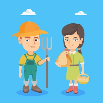 Caucasian boy and girl with chicken and rake.