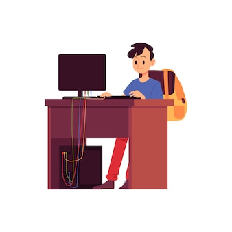 Caucasian brunet boy with a backpack behind his back sits at a desk with a computer and learns or studies online. child online education concept, isolated flat cartoon vector illustration.