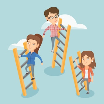 Caucasian business people climbing to success.