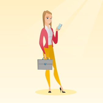 Caucasian business woman holding a mobile phone