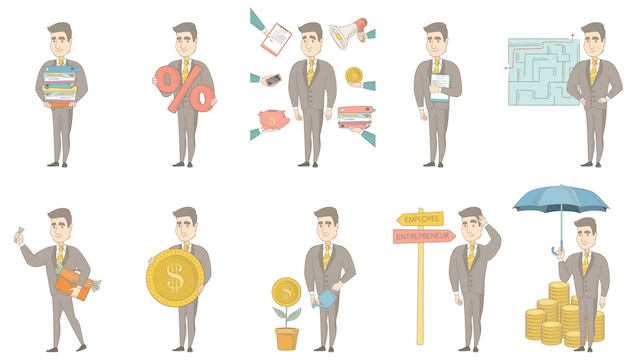Caucasian businessman character set