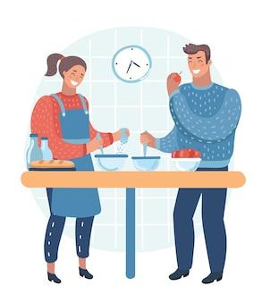 デジタルタブレットで健康的な野菜の食事のレシピに従う白人のカップル。健康的な食事を調理するカップル。カップルが一緒に料理します。白い背景で隔離のフラットなデザインイラスト。