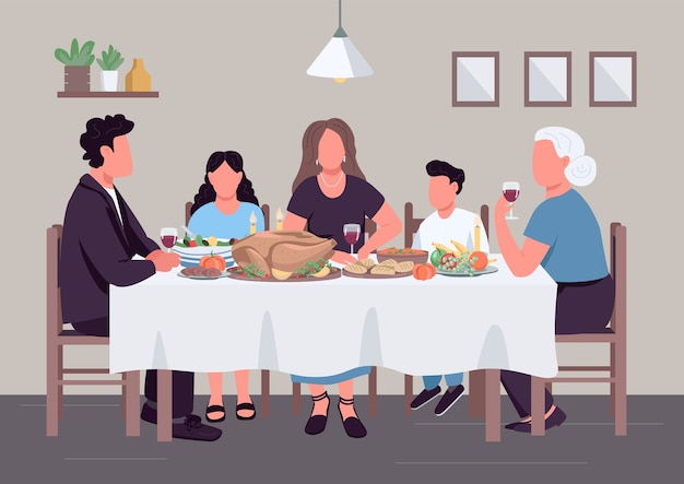 Caucasian family dinner flat color illustration. people eat meal together. holiday lunch. relatives generation at table 2d cartoon characters with household interior on background