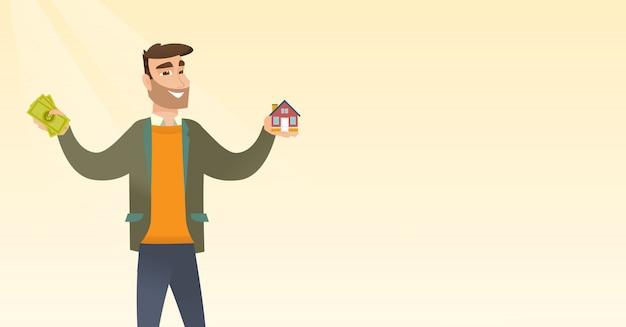 Caucasian man buying house thanks to loan.