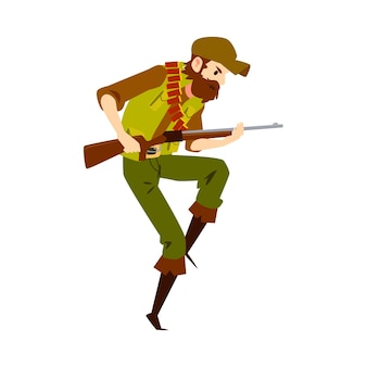 狩猟用ライフルで撃つ準備ができている白人男性