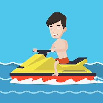 Caucasian man training on jet ski in the sea.