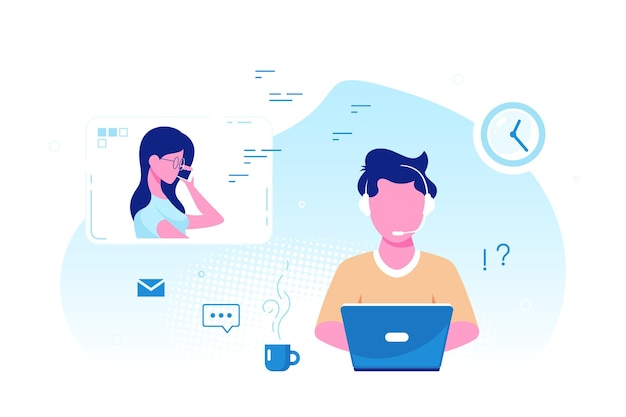 Caucasian man with laptop and headphones with microphone. tech support, assistance, call center and customer service concept. flat style vector illustration