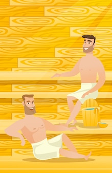 Caucasian men relaxing in sauna.