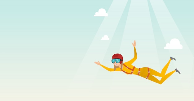Caucasian parachutist jumping with a parachute