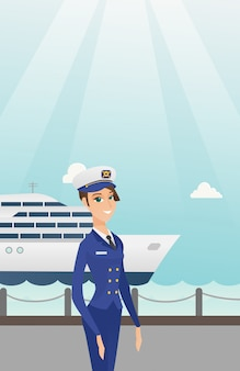 Caucasian ship captain in uniform at the port.