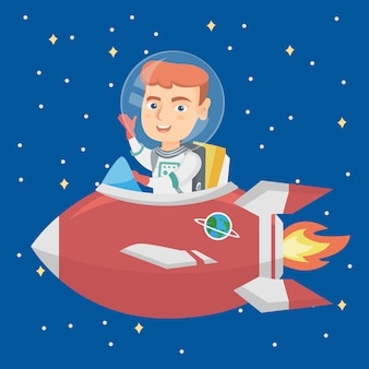 Caucasian smiling boy riding a spaceship.