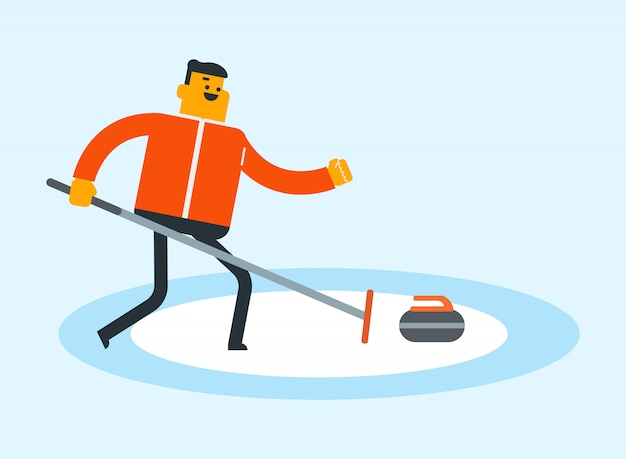 Caucasian sportsman playing curling on ice rink.