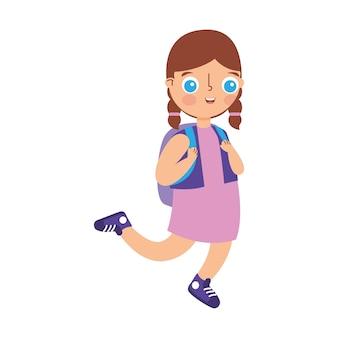 白い背景の上に分離された白人の歩く子供の漫画。ベクトルイラスト