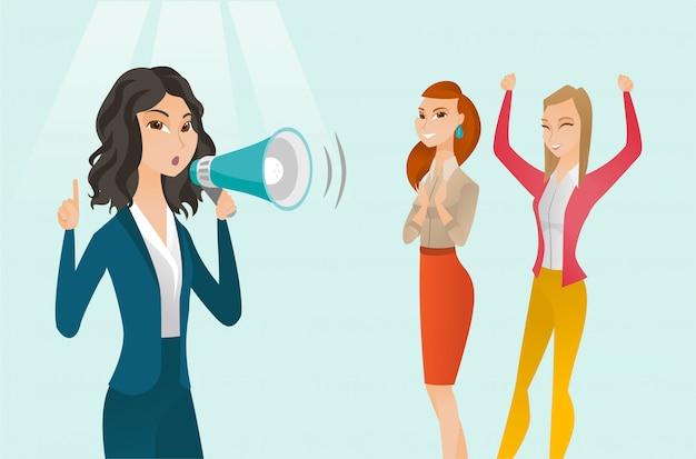Caucasian white feminist shouting into a megaphone