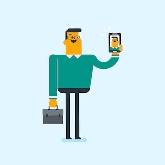 Кавказский белый мужчина держит звон мобильного телефона