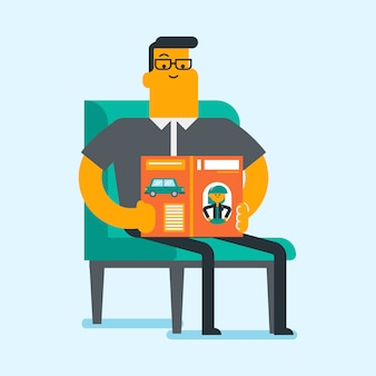 Caucasian white man reading a magazine.