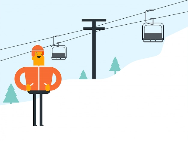 Caucasian white skier and cableway at ski resort.