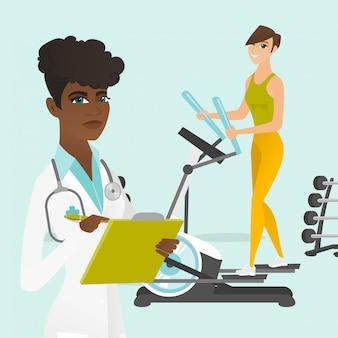 Caucasian woman exercising on elliptical trainer.