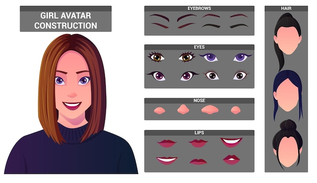 アバター作成のための白人女性の顔の構築セット。