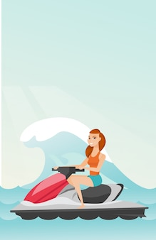 Кавказская женщина верхом на водных скутерах в море