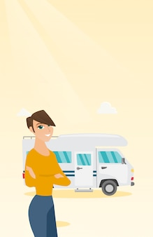 Caucasian woman standing in front of motorhome.